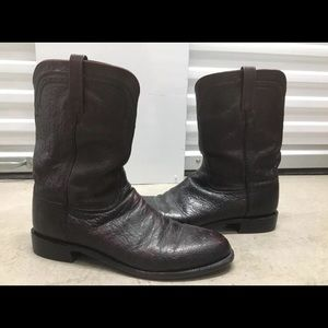 Lucchese Ostrich Leather Western Cowboy Boots